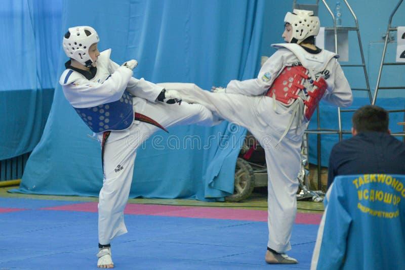 De taekwondoconcurrentie stock afbeeldingen