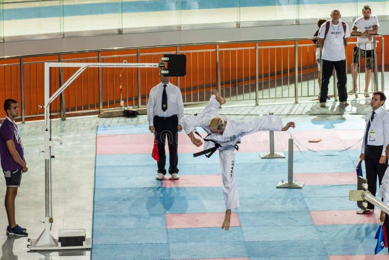 De taekwondoconcurrentie stock fotografie