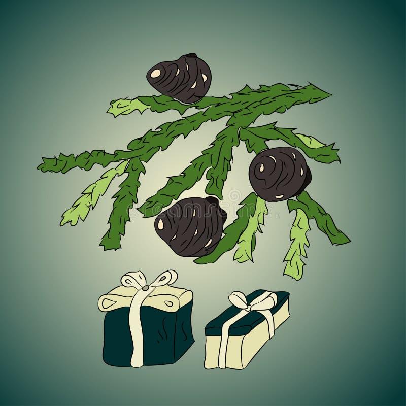 De tak van de kerstboom met kegels