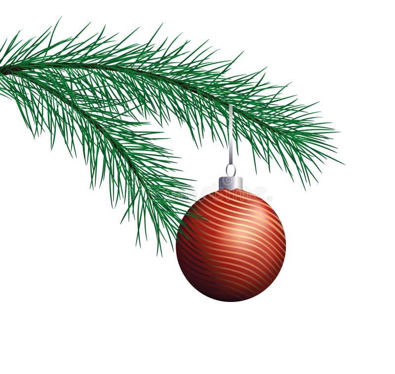 De Tak van de pijnboom met de rode bal van Kerstmis stock illustratie