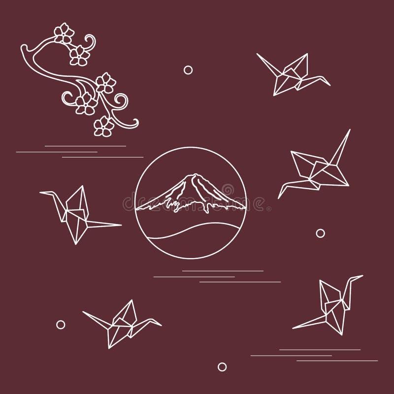 De tak van kersenbloesems, zet de kranen van Fuji op en origamidocument vector illustratie