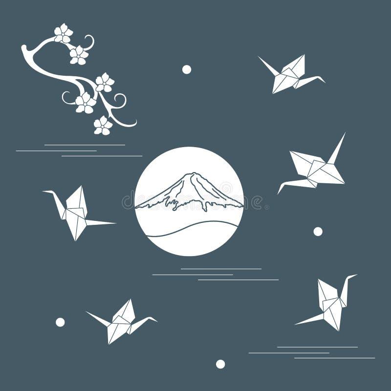 De tak van kersenbloesems, zet de kranen van Fuji op en origamidocument stock illustratie