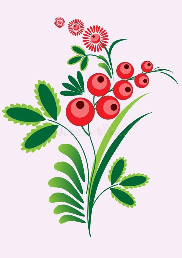 De tak van lijsterbessenbessen met berrie en bladeren op witte achtergrond royalty-vrije illustratie