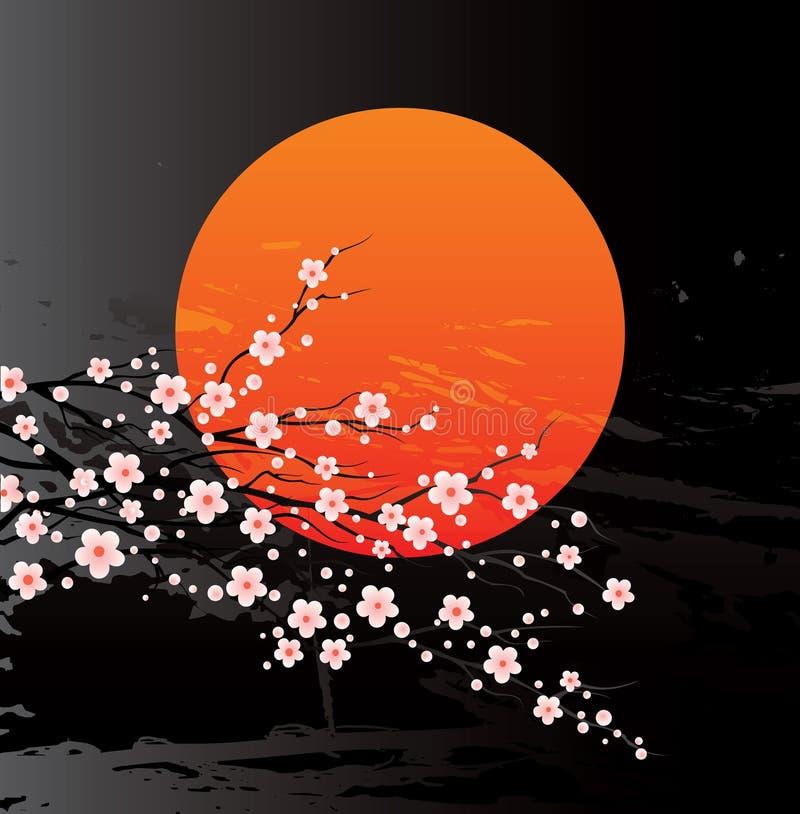 De takjes van de kers in bloei vector illustratie