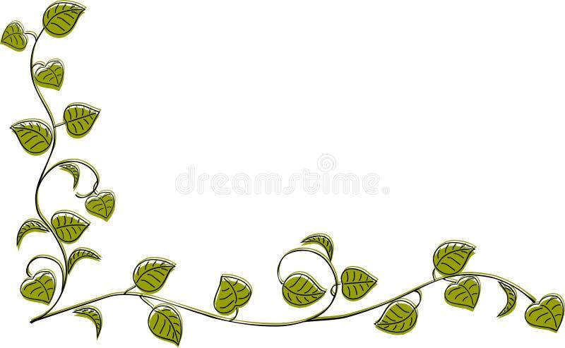 De takken van de hoekgrens met bladeren stock afbeelding