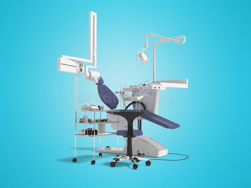 De tand blauwe stoel met verlichting en de functionaliteit voor tand 3d behandeling geven op blauwe achtergrond met schaduw terug stock illustratie