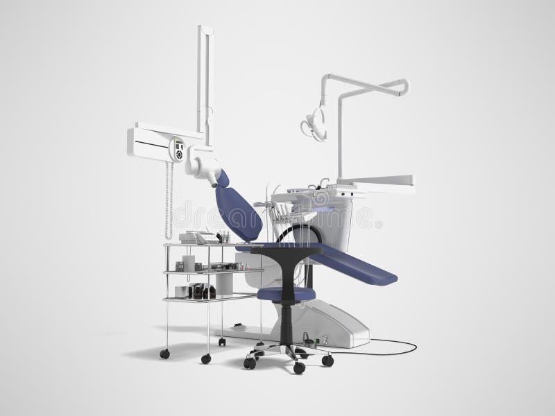 De tand blauwe stoel met verlichting en de functionaliteit voor tand 3d behandeling geven op grijze achtergrond met schaduw terug vector illustratie