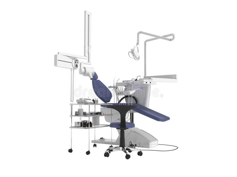 De tand blauwe stoel met verlichting en de functionaliteit voor tand 3d behandeling geven op witte achtergrond geen schaduw terug stock illustratie