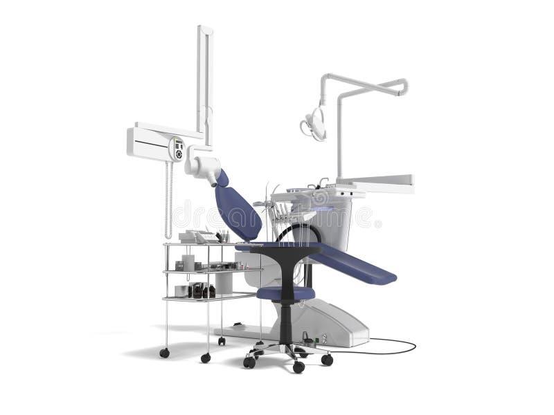 De tand blauwe stoel met verlichting en de functionaliteit voor tand 3d behandeling geven op witte achtergrond met schaduw terug vector illustratie