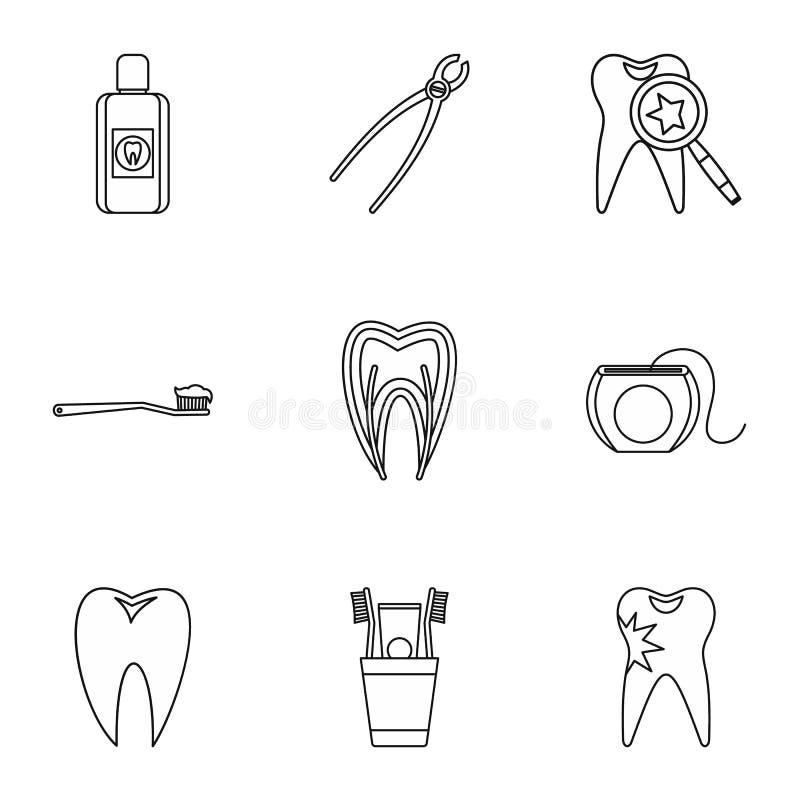 De tand geplaatste behandelingspictogrammen, schetsen stijl vector illustratie