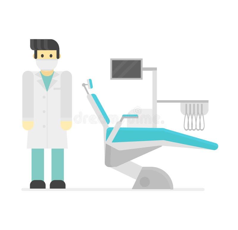 De tand vectorillustratie van de stoelkliniek stock illustratie