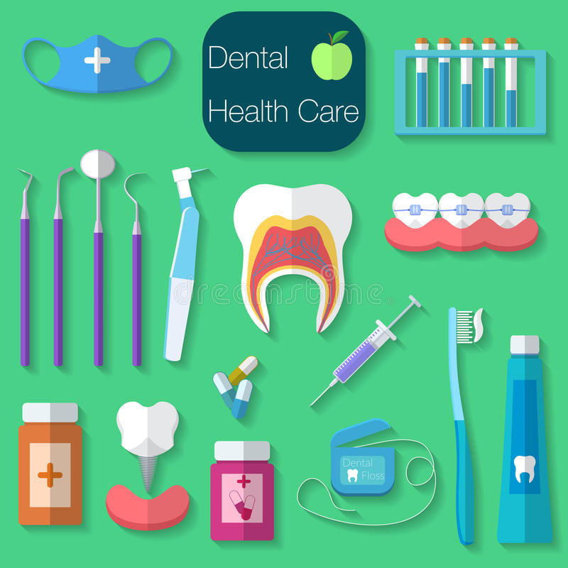 De tand Vectorillustratie van het zorg vlakke ontwerp met Tandzijde, tanden, mond, tanddeeg en borstel, geneeskunde, spuit en tan vector illustratie