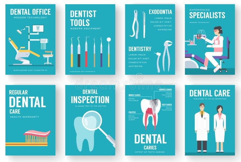 De tandachtergrond van de bureau binnenlandse illustratie Het concept van tandartspictogrammen royalty-vrije illustratie