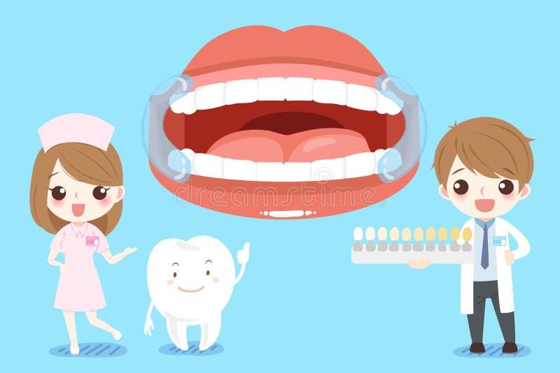 De tandarts van het beeldverhaal met tand vector illustratie