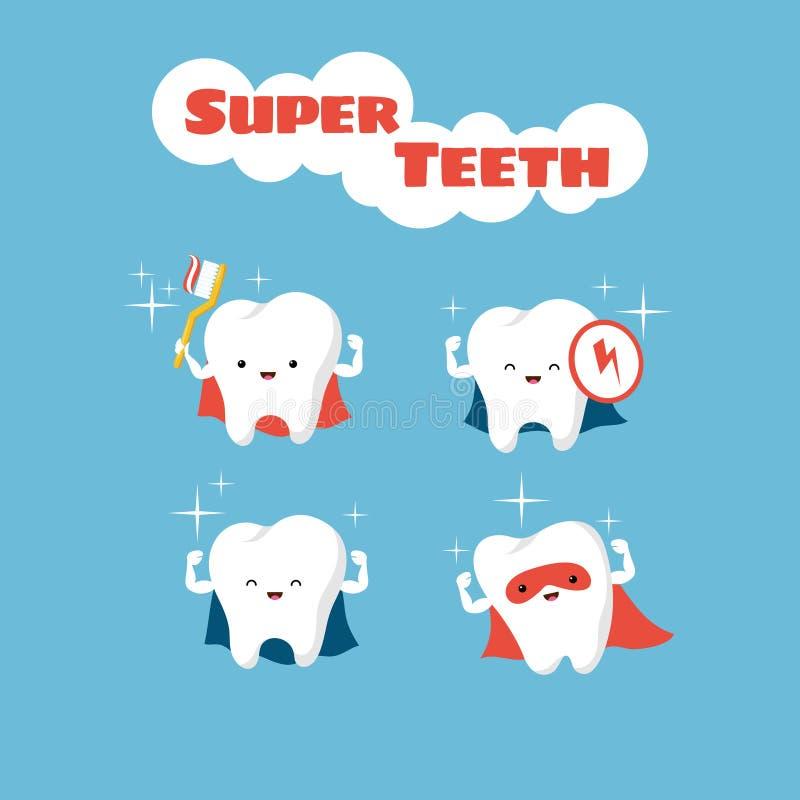 De tanden vectorkarakters van Superhero glimlachende jonge geitjes vector illustratie