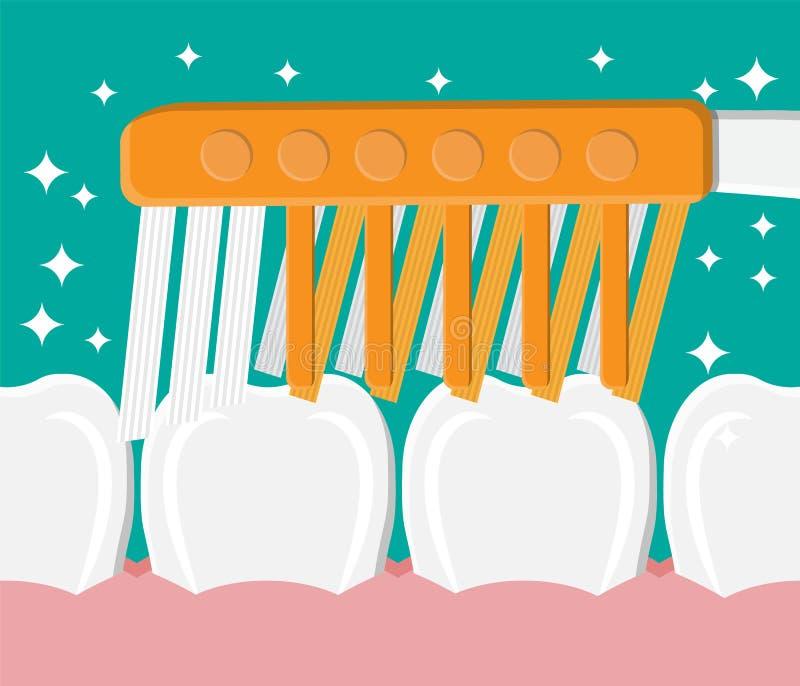 De tandenborstel maakt tanden schoon Borstelende Tanden vector illustratie