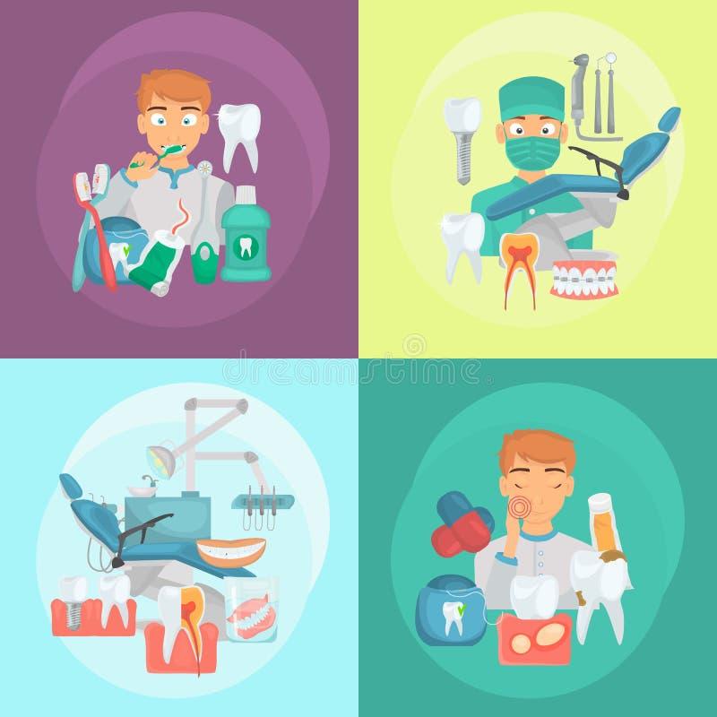 De tandenzorg en de tanddienst kleuren vlakke die pictogrammen voor Web en mobiel ontwerp worden geplaatst vector illustratie