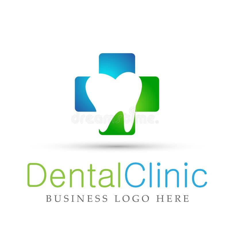De tandmensen van de kliniektandarts geven medisch het ontwerppictogram van het gezondheidszorgembleem op witte achtergrond royalty-vrije illustratie