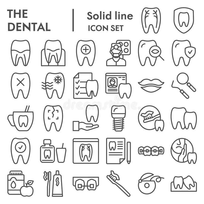 De tandreeks van het lijnpictogram, de symboleninzameling van het tandheelkundemateriaal, vectorschetsen, embleemillustraties, mo royalty-vrije illustratie