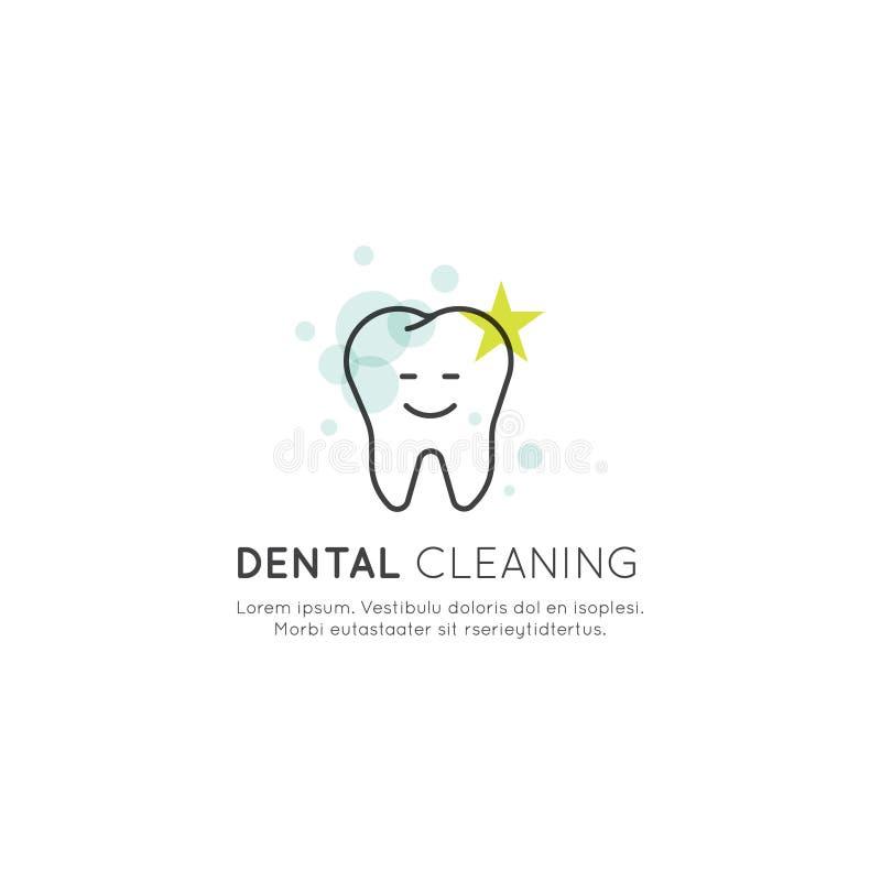 De tandtanden die van de Luchtstroom Proces, Rekening schoonmaken die, Esthetica, Orthodontist, Geïsoleerd Webelement voor Klinie royalty-vrije illustratie