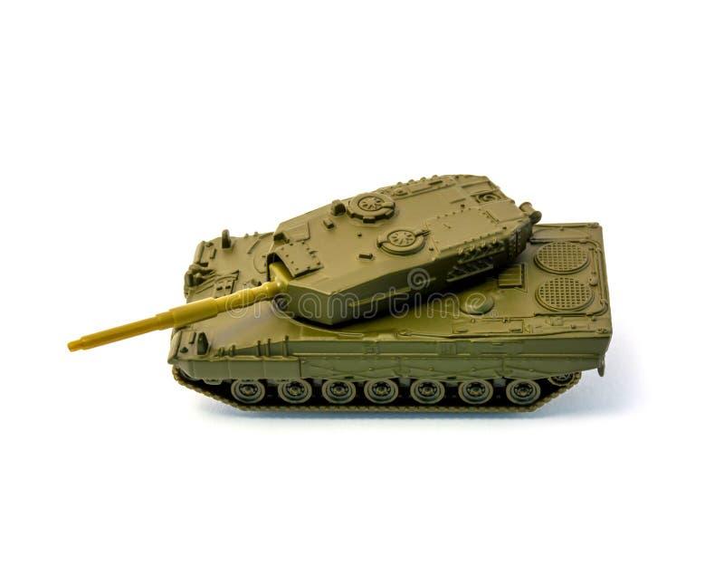 De tank van het stuk speelgoed op witte achtergrond wordt geïsoleerd die stock foto's