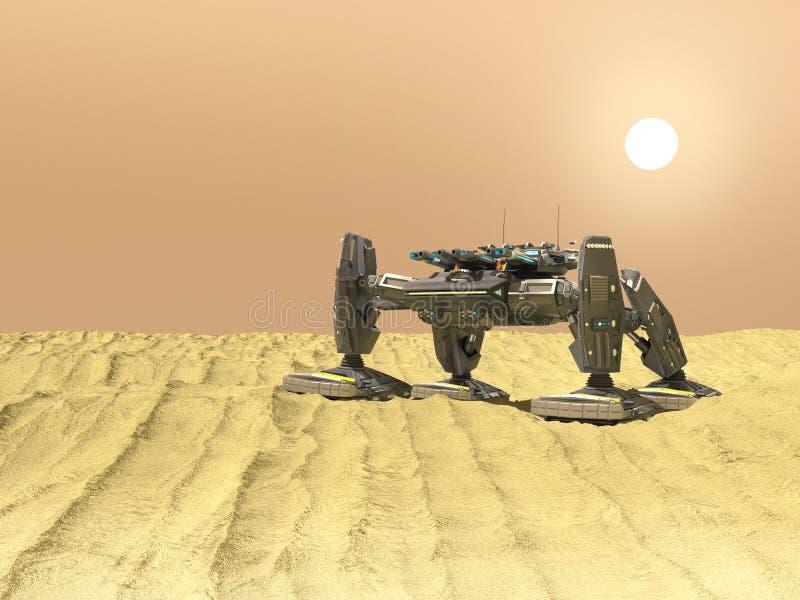 De tankrobot in 3d woestijn, geeft terug vector illustratie