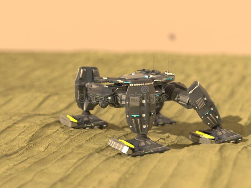 De tankrobot in 3d woestijn, geeft terug stock illustratie