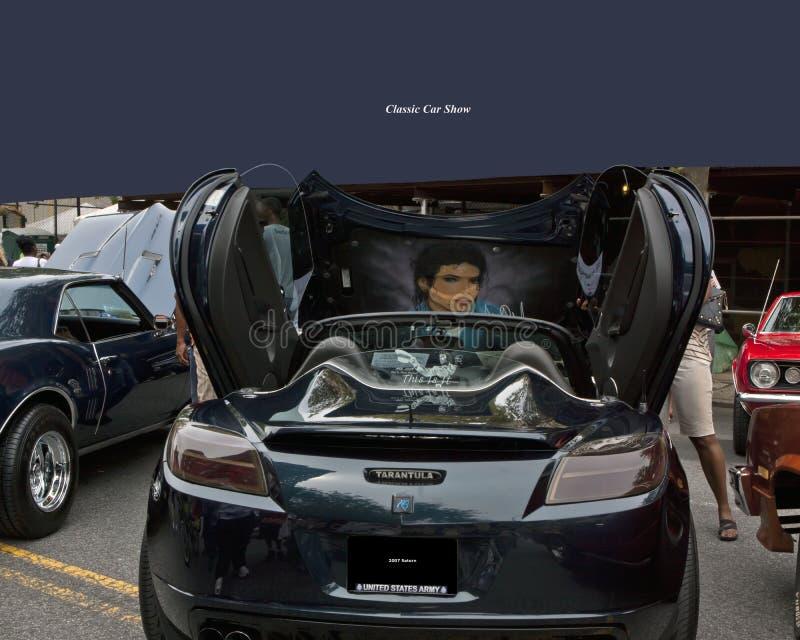 De tarantula bij auto toont stock afbeeldingen
