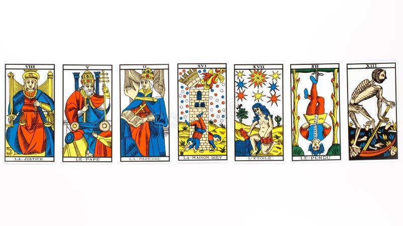 De tarotkaart trekt royalty-vrije stock afbeeldingen