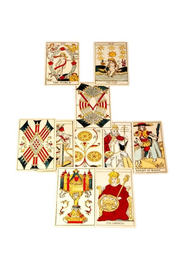 De tarotkaarten stellen in de Uitgespreide Verhouding op royalty-vrije stock foto