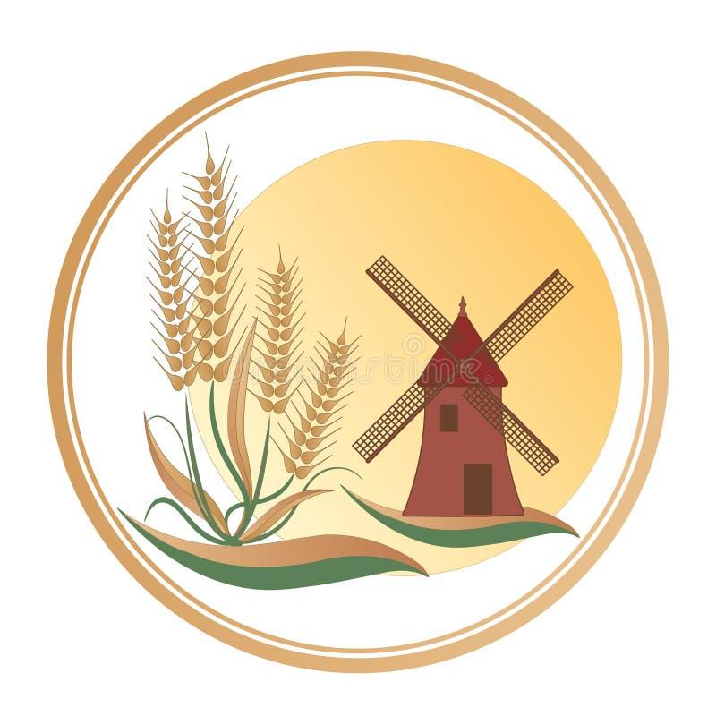 De tarwe bij de voet van de molen, onder een grote zon - Embleem royalty-vrije illustratie