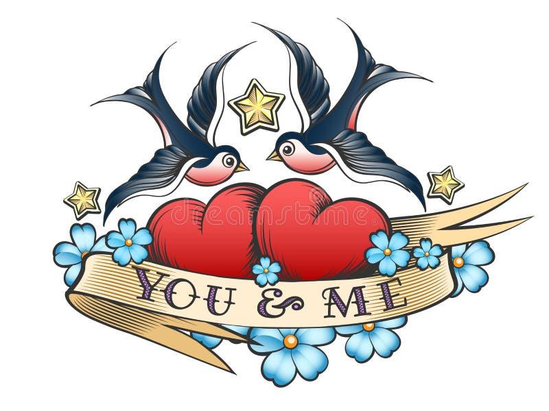 De tatoegering met slikt en Harten met Lint stock illustratie
