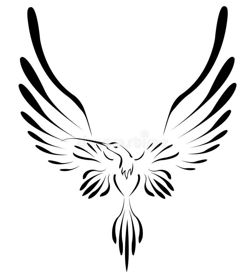 De tatoegering van de aantrekkingskracht. Zwarte silhouetvogel op wit stock illustratie