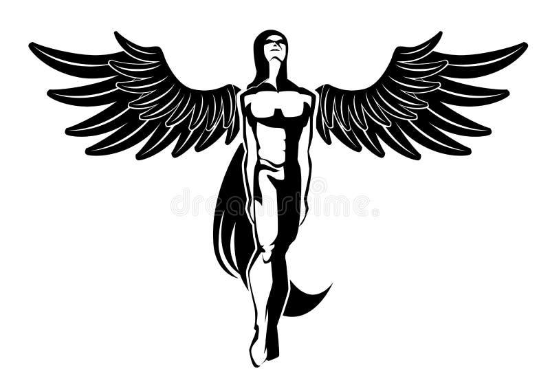 De tatoegering van de engel stock illustratie