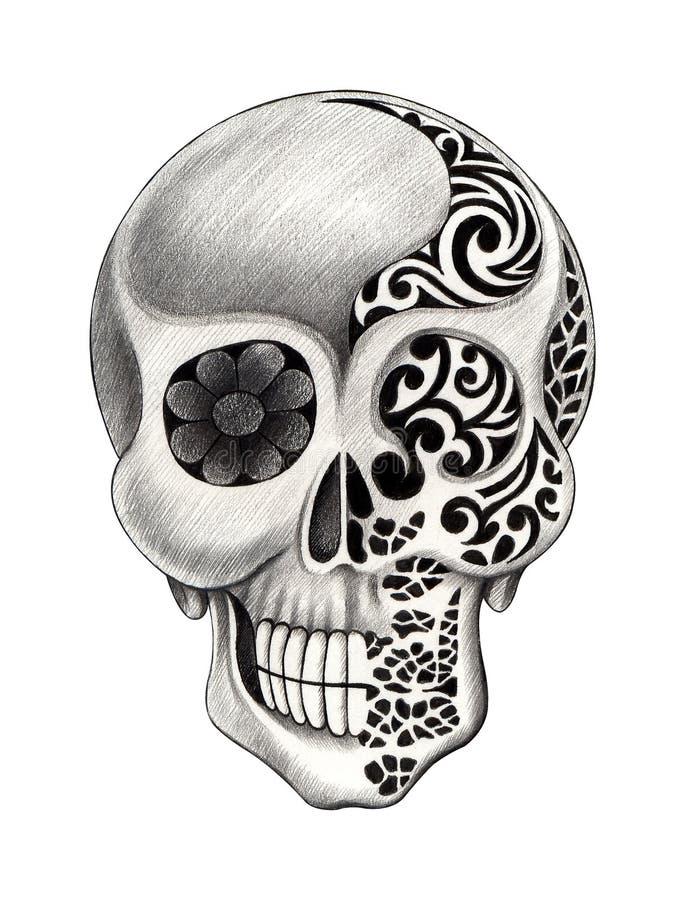 De tatoegering van de kunstschedel royalty-vrije illustratie