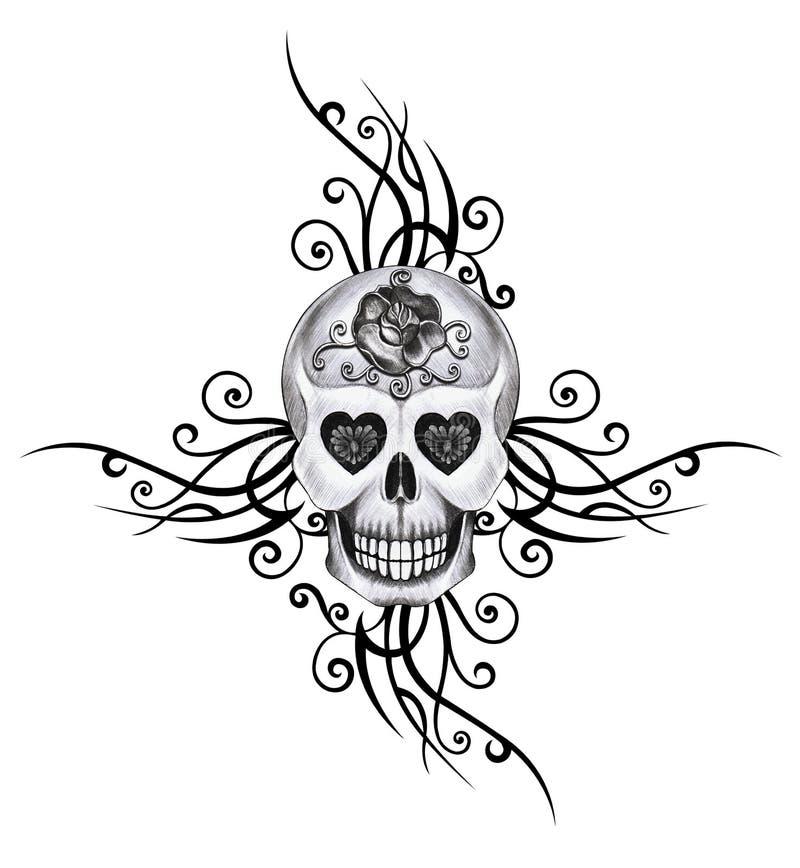 De tatoegering van de kunstschedel vector illustratie