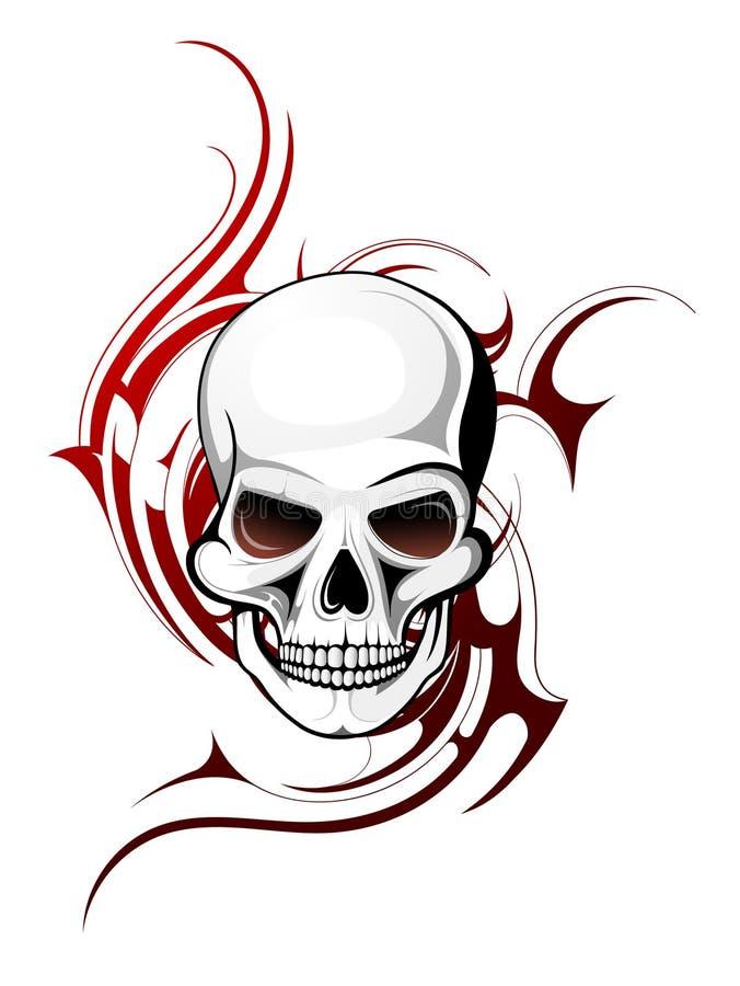 De tatoegering van de schedel stock illustratie