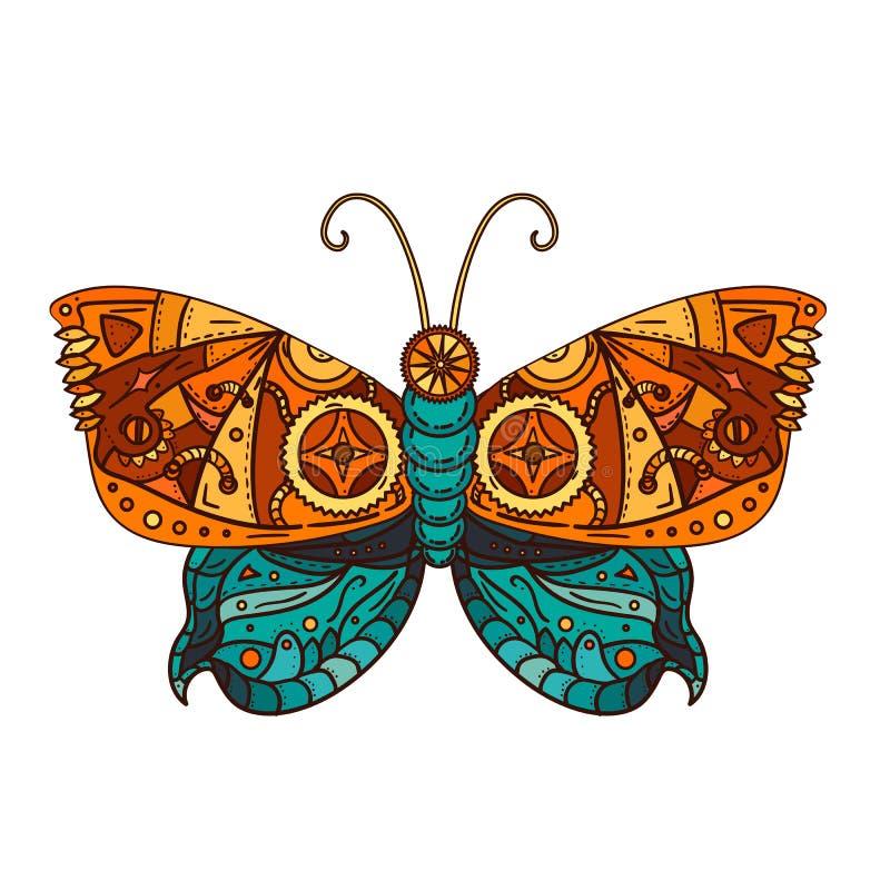 De tatoegering van de Steampunkvlinder royalty-vrije illustratie