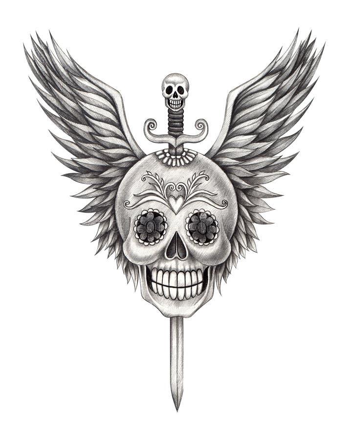De tatoegering van het de vleugelszwaard van de kunstschedel royalty-vrije illustratie