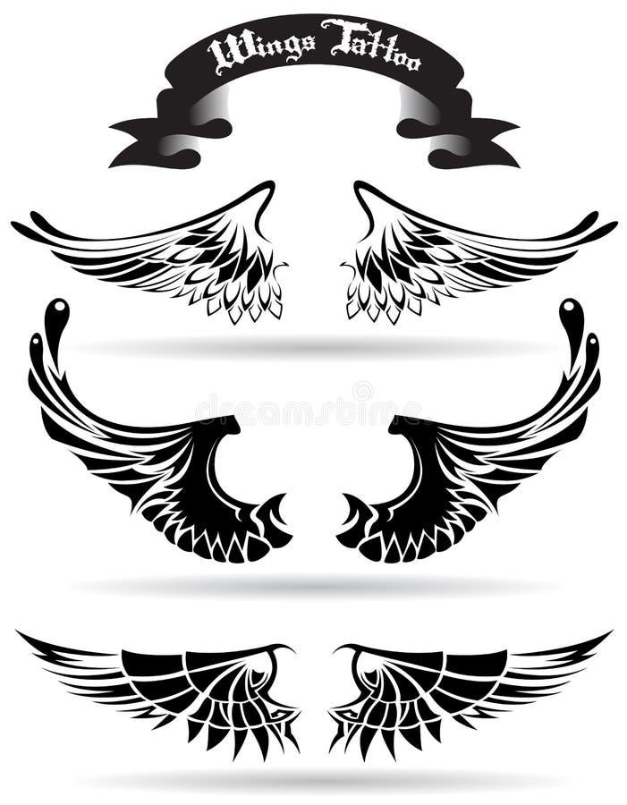 De tatoegering van vleugels stock illustratie