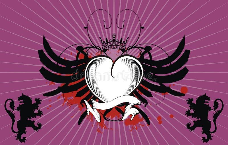 De tatoegeringsachtergrond van het heraldische leeuwen gevleugelde hart stock illustratie