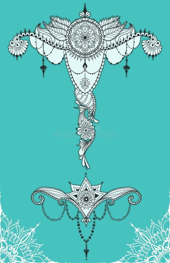 De tatoegeringsmalplaatje van Mehndybloemen royalty-vrije illustratie