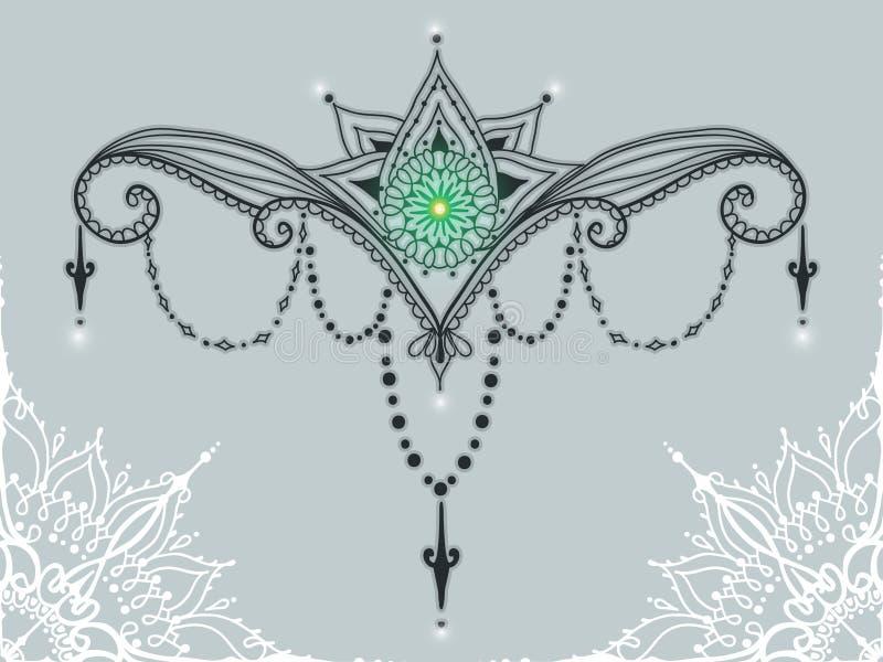 De tatoegeringsmalplaatje van Mehndybloemen vector illustratie