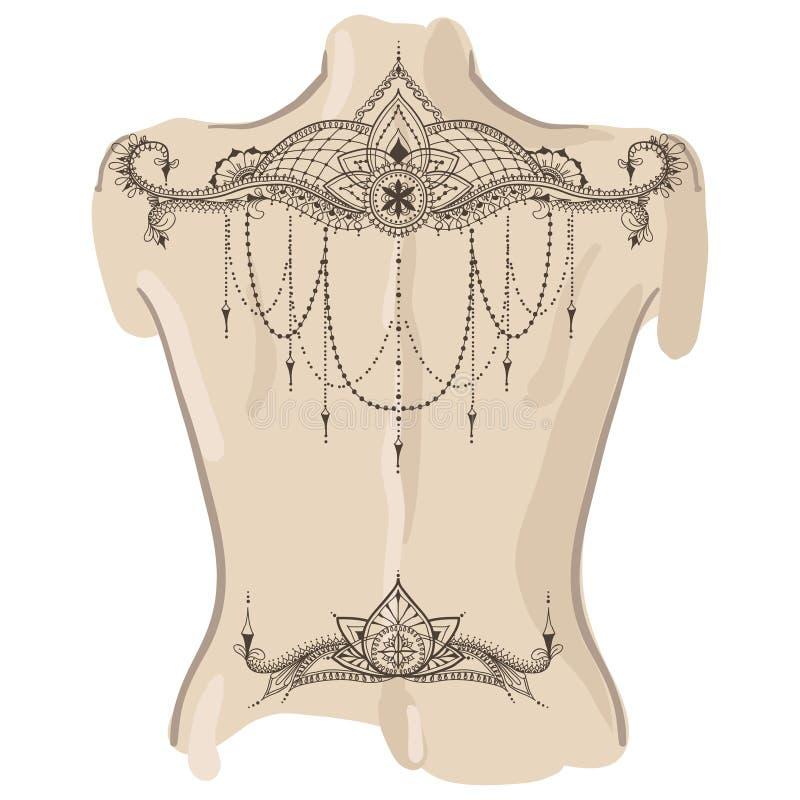 De tatoegeringsmalplaatje van Mehndybloemen Tatoegering op haar terug royalty-vrije illustratie