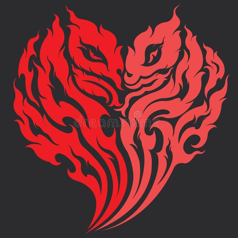 De tatoegeringsontwerp van het draakhart royalty-vrije illustratie