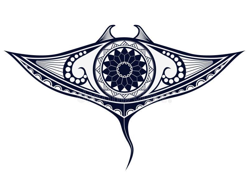De tatoegeringspatroon van de Maoristijl in vorm van mantastraal Pasvorm voor schouders en hogere rug stock illustratie