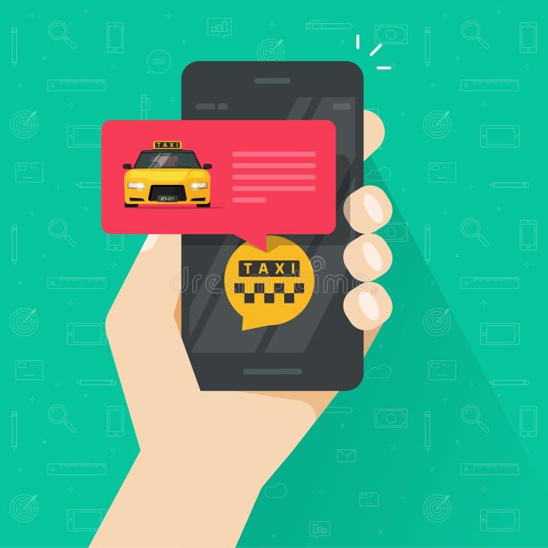 De taxi online dienst met het gebruiken van mobiele telefoon vectorillustratie stock illustratie