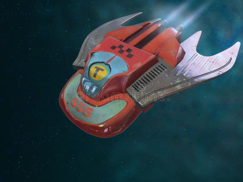 De taxi is op de manier Ruimte schip-taxi 3D Illustratie vector illustratie