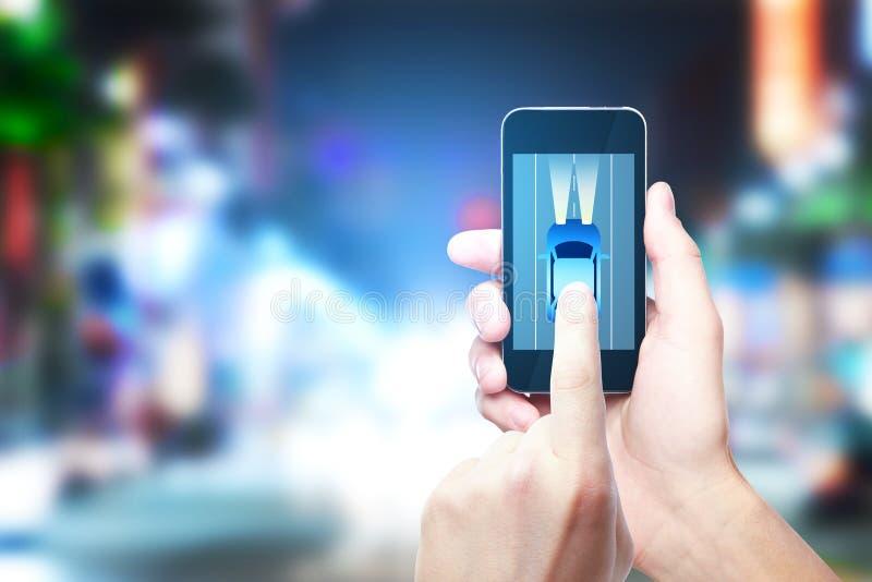 De taxi, zet, app, gps concept om stock afbeelding