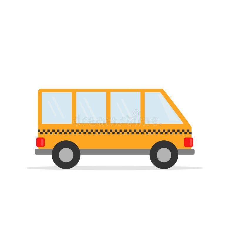 De taxibestelwagen Gele het werkauto Vectorgrafiek in vlakke stijl royalty-vrije illustratie